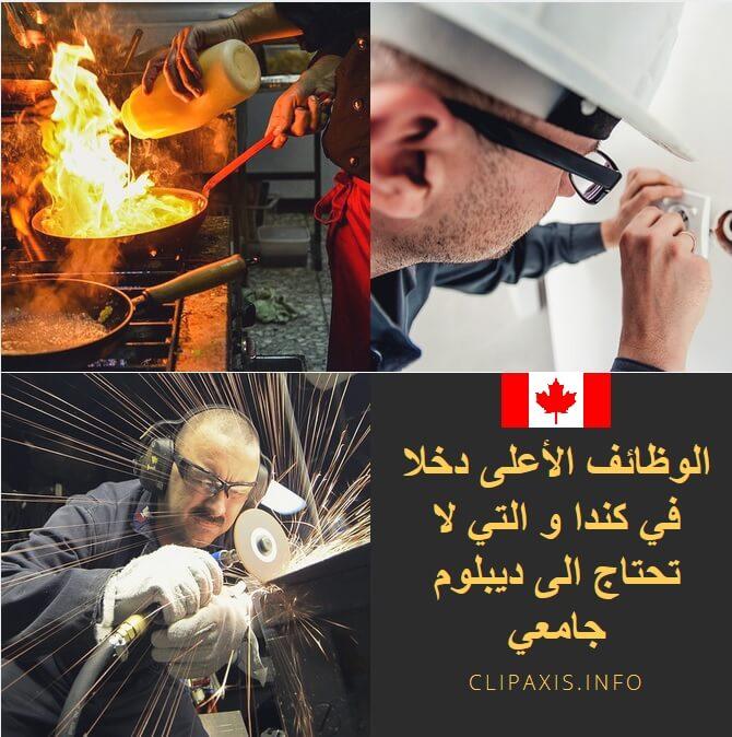 الوظائف الاعلى دخلا في كندا و التي لا تحتاج الى ديبلوم جامعي